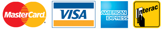 We accept Mastercard, Visa, AmEx and Interac