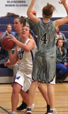 Amanda Hofer of the F.P. Walshe Flyers drives to the basket against Notre Dame Collegiate Timberwolves.