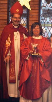 Bishop Derek Hoskin presents Rev. Pilar Gateman on Sunday to the congregation of Christ Church Anglican in Fort Macleod.