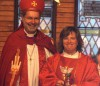 Bishop Derek Hoskin presents Rev. Pilar Gateman on Sunday to the congregation of Christ Church Anglican in Fort Macleod.