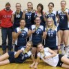 The F.P. Walshe Flyers, back row, from left: coach Mark Perry, Holly Bergo, Tenille Poettcker,  Sloan MacDonald, Bailey Perry and Bella Gunderson. Middle row: Danielle Wesley, Rachel Hoglund and Amanda Yunick. Front: Hayley Stockton and Ruby Kinsella