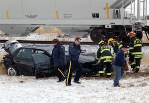 Crash involving a car and a CP freight train