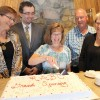 Mary-Jean Aubin of Alberta Human Services cut the cake at the grand opening of the new regional business development centre. From left: Linda Erickson of Alberta Enterprise and Advance Education, Aubin, small business advisor Srecko Ponjavic, advisory board member Henk Vanee and Coun. Sharan Randle.