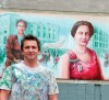 Artist Kris Friesen in front of the 'Famous Five' mural unveiled recently in Edmonton. Henrietta Muir Edwards of Fort Macleod is at left. Photo by Bruce Edwards, edmontonjournal.com.