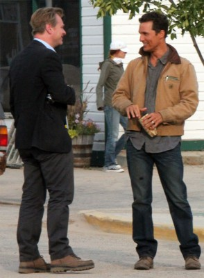 Director Christopher Nolan talks to star Matthew McConaughey during a break in the filming of 'Interstellar' on Wednesday in Fort Macleod.