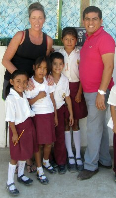 Karen Pansky with a teacher and students from Ocavio Paz school in Zihuatanejo, Mexico.