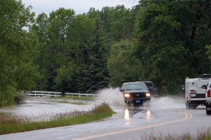 Flood water was crossing Highway 811 earlier Wednesday evening before the road was closed.