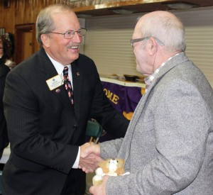 Former Lions Clubs International director Dave Hajny presented a stuffed Lion to long-time Fort Macleod member Bob Train. Hajny also presented stuffed lions to Fort Macleod Lions Club president Diane Ball, vice-president Harold Wiens, club secretary and zone chair Michelle Harris and treasurer Murray Sopher.