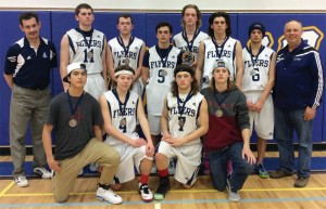 The F.P. Walshe Flyers Back row, from left: coach Don Webb, Rylan Clarke, Oakley Bond, Shody Perry, Jack Dietze, Ty Odney, Aidan Kidd and coach Clayton Orr. Front row, from left: Walker English, Cole Sawchuk, Michael McTighe and Dylan Drader.