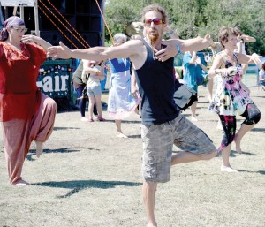 Claresholm's Gavin Moore takes part in a Nia demonstration at the South Country Fair Saturday.