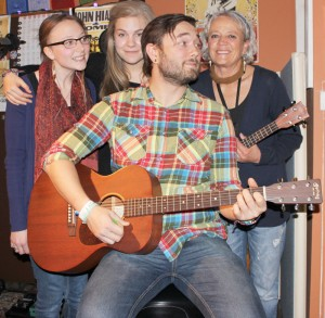 Jillian Moranz, Alex Westwood, Maureen Chambers and Ryland Moranz (front) perform Thursday, Oct. 8 at the Fort Macleod Arts Building.