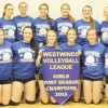 Westwinds Volleyball League post-season tournament champion F.P. Walshe Flyers. Back row, from left: Shelby Lyke, Jamie Brown, Brooklyn Bourassa, Emily Eremenko, Brooke Pansky and Andie Curran. Front row, from left: Cassidy Nathe, Mackenzie Hearn, Janelle Stockton, Abby Bourassa, Danielle Hedley and Eula Mengullo.