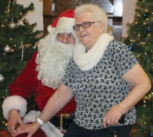People had their photos taken with Santa Claus.