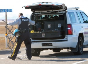 An RCMP pursuit ended Monday when Fort Macleod RCMP deployed a spike belt on Highway 3.