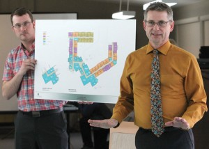 Daren Blair and George Berry of Berry Architecture and Associates presented drawings of the new $9-million seniors' lodge in Fort Macleod during an open house.
