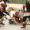 Fort Macleod goalie Cody Hall stops Wainwright's Quinn Costa on a penalty shot.