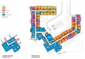 This drawing shows the layout of the new lodge.
