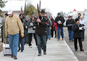 About 40 people took part in the Way of the Cross procession.