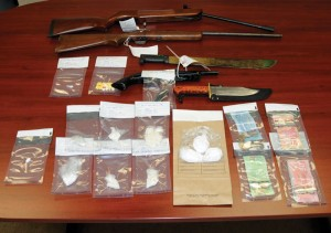 Fort Macleod RCMPseized weapons and drugs from a residence early Friday morning.