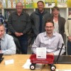 PHOTO BY KAREN WHITEMAN Fort Macleod town council recently joined Alberta's Promise, a group dedicated to making this province the best place to raise a child. Back row, from left: Coun. Keith Trowbridge, Coun. Gord Wolstenholme, Coun. Mike Collar, Coun. Trish Hoskin and Coun. Michael Dyck. Front row, from left: Mayor Rene Gendre and Deputy Mayor Brent Feyter.