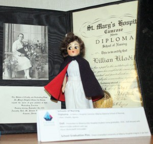 A display that was part of a travelling exhibit of the College and Association of Registered Nurses of Alberta.