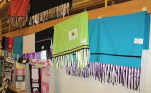 Student work was displayed in the gymnasium.
