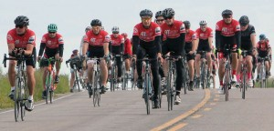 Cyclists set out Saturday morning on 50- and 80-kilometre bike rides.