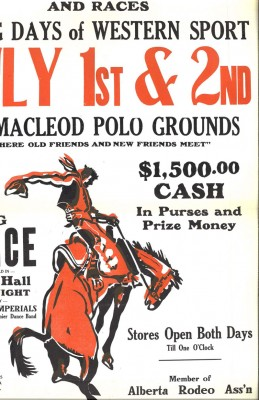 Annora Brown created this image of a bucking bronc for a Macleod Stampede poster. Image courtesy the Glenbow Museum.