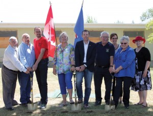 Participating in the sod-turning ceremony for the new seniors' lodge were, from left: Granum Mayor John Connor, MD of Willow Creek Reeve Earl Hemmaway, Fort Macleod Deputy Mayor Brent Feyter, Lethbridge MLA Maria Fitzpatrick, Foothills MP John Barlow, and Willow Creek Foundation members Gord Wolstenholme, Mickey Sloot, Maryanne Sandberg and Pam Young.