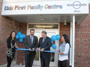 Fort Macleod Deputy Mayor Brent Feyter and Livingstone-Macleod MLA Pat Stier cut the ribbon held by Ashley McDougall (left) and Leilani McDougall Thursday morning to officially open Fort Macleod Kids First Family Centre.