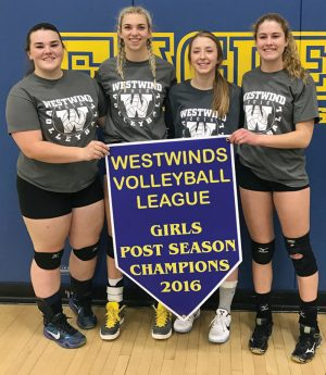 Westwinds Volleyball League all-stars Brooke Pansky, Jamie Brown and Emily Eremenko with most valuable player Andie Curran.