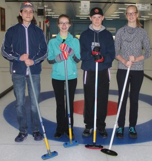 F.P. Walshe school curlers Darian Atwood, Aby Wolff, Liam Doyle and Marissa Medema.
