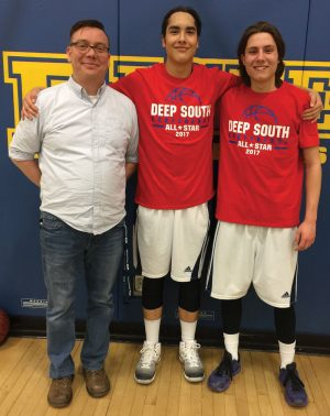Coach Chris Baxter, Walker English and Darian Atwood represented F.P. Walshe Flyers in the Deep South Conference all-star game Thursday in Lethbridge.