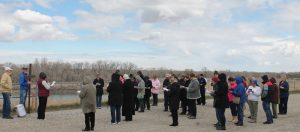 The Way of the Cross procession stopped near the banks of the Oldman River in Fort Macleod on Good Friday, April 14.