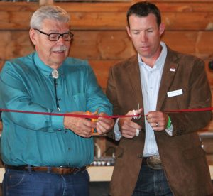 MD of Pincher Creek Reeve Brian Hammond and Foothills MP John Barlow cut the ribbon to officially open the barn.