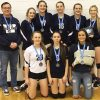 The F.P. Walshe Flyers, back row, from left: coach Chris Baxter, Alex Garrett, Stephanie Tobler, Sheridan George-Orr, Aby Bourassa and Janelle Stockton. Front row, from left: Tiegan Trotter, Angie Borrero and McKenzie Phillips.