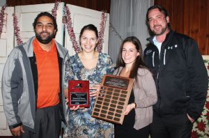 Ricky Sharma and Chad Novak of award sponsor Davis Dodge presented the New Business Award to Kimberly Vanden Broek and Julena Schipper of Homestead Bakeshop.