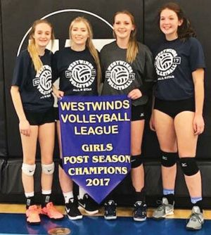Westwinds Volleyball League all-stars Alex Garrett, Janelle Stockton, Abby Bourassa and Stephanie Tobler. Bourassa was also the league's most valuable player.