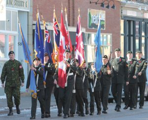 The 2309 Fort Macleod Army Cadets marched the colours on Main Street.