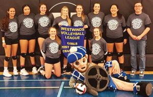 The F.P. Walshe Flyers won the Westwinds Volleyball League postseason tournament on Friday. Back row, from left: McKenzie Phillips, Madi Scout, Stephanie Tobler, Janelle Stockton, Abby Bourassa, Sheridan George-Orr, Shelby Scout-Bastien and coach Chris Baxter. Front: Tiegan Trotter, school mascot Angus and Alex Garrett.