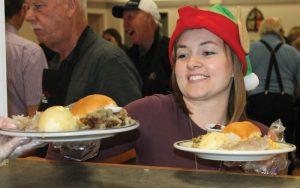 Ashley Nelson served dinner on Saturday.
