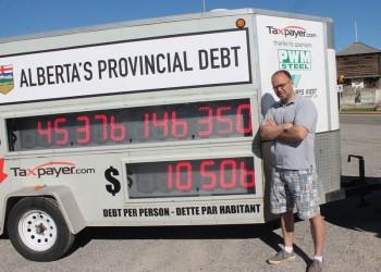Alberta Debt Clock stops in Fort Macleod