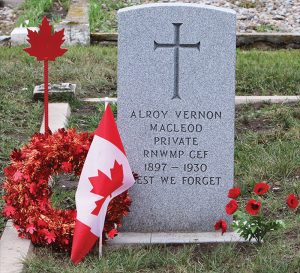 The grave of Trooper Alroy MacLeod.