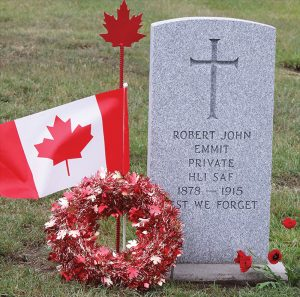 The grave of Private Robert Emmit.